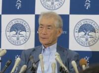 京都大学高等研究院特別教授の本庶佑氏(ノーベル生理学・医学賞の受賞決定を受けた2018年10月の記者会見で撮影)